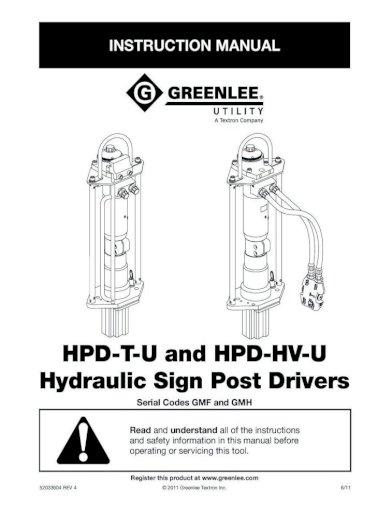 8 gpm Greenlee Sign Post Driver Hydraulic HPD-HV-U