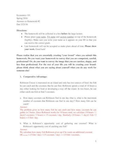Economics 101 Sscc Ekelly Econ101 Answersto آ Economics 101 Spring 2016 Answers To Homework 2 Pdf Document