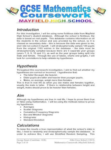 gcse maths coursework mayfield