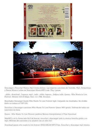 Descargar Queen Who Wants To Live Forever Mp3 Who Wants To Live Forever Escuchar Y Descargar Canciones Queen Who Wants To Live Forever Instrumental Mp3 Gratis Disfruta De Todas Pdf Document