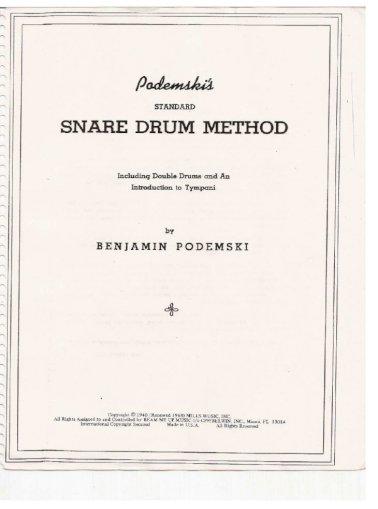 Drum Benjamin Podemski Standard Snare Drum Method Version 2 Pdf Document