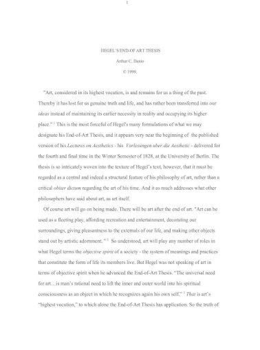 end of art thesis hegel