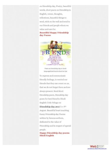 Friendship short poems of 17 Short