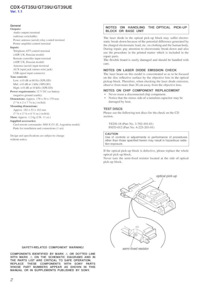sony cdxgt35u gt39u gt39ue  pdf document