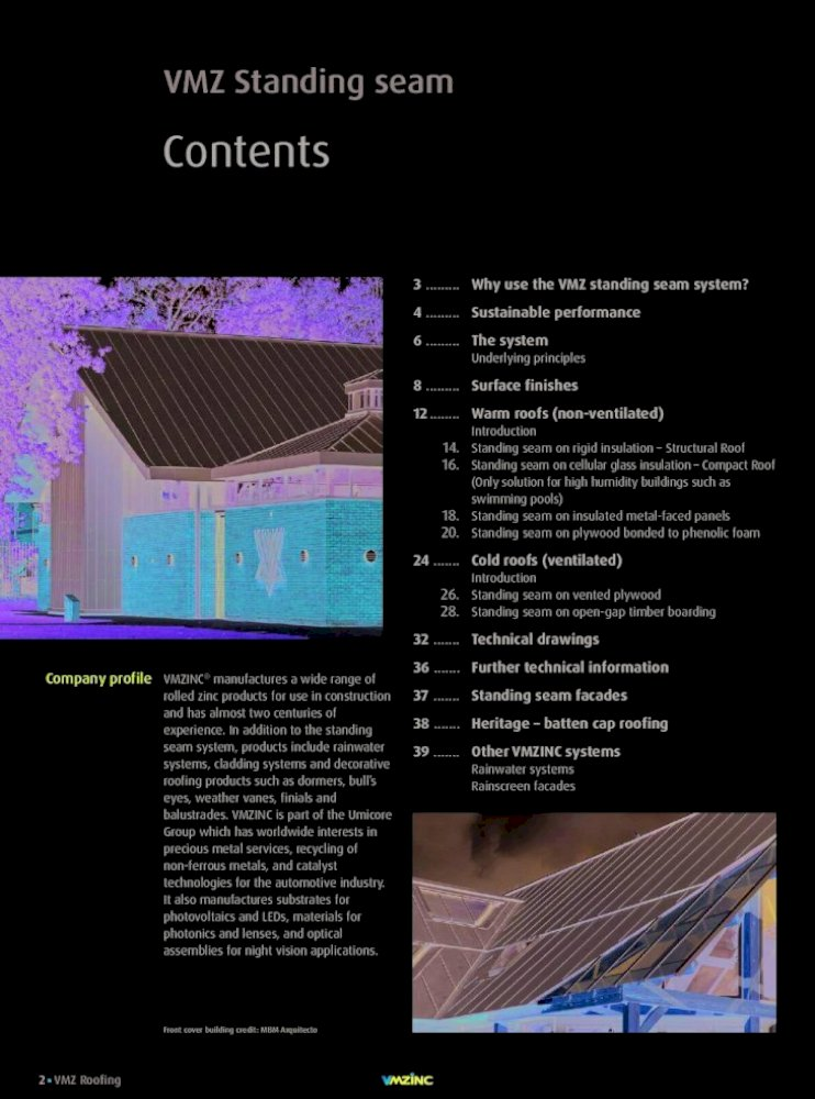 Vmz Standing Seam Non Ventilated And Ventilated Roof Systems Design And Specification Requirements Pdf Document