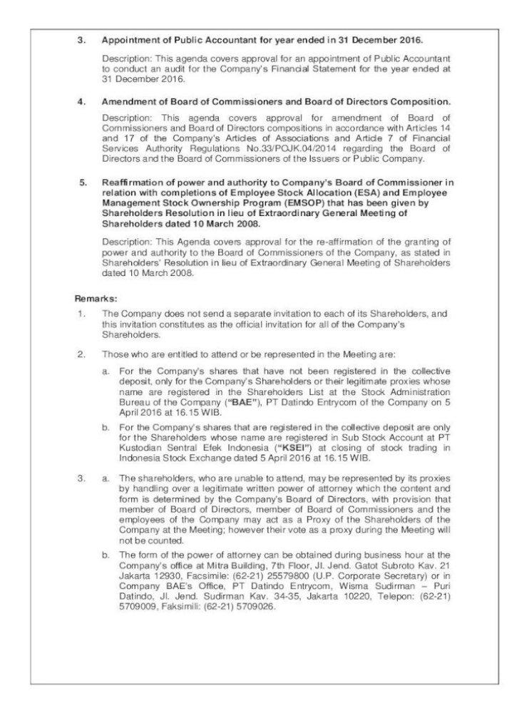 Pt Indika Energy Tbk Invitation Of Extraordinary And Pt Indika Energy Tbk Domiciled In Jakarta Pdf Document