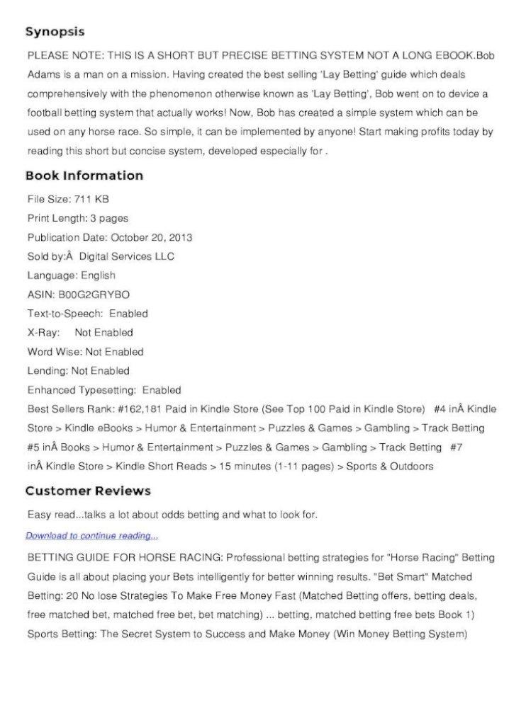 Horse betting books pdf bitcoins documentary now ifc