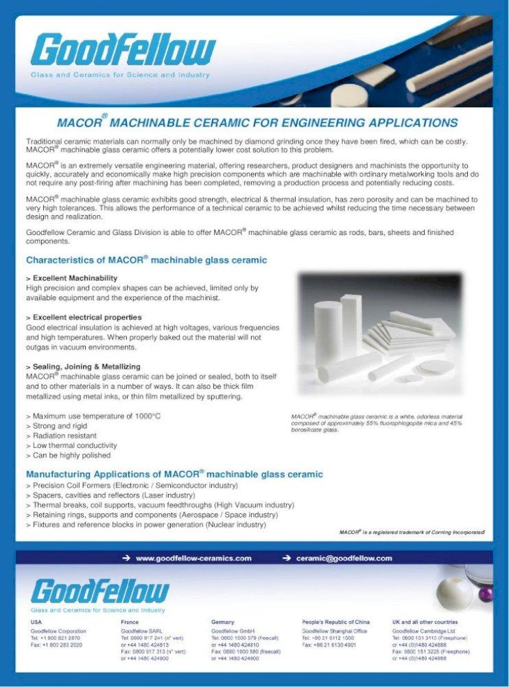 "Macor 3//8/"" Square x 12/"" Long Machinable Glass Ceramic Bar"