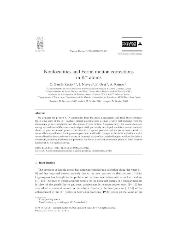 Nonlocalities And Fermi Motion Corrections In K Atoms Pdf Document