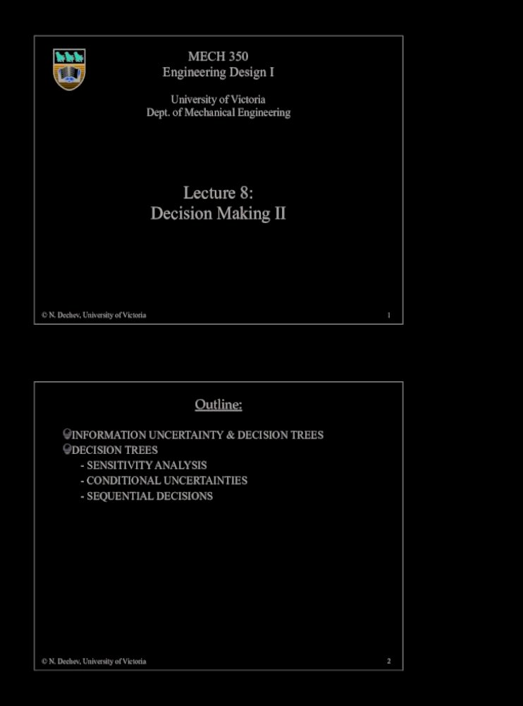 Lecture 8 Decision Making Ii Mech350 Lectures Mech350 Lecture 8 Pdfthe Decision Rule Used With The