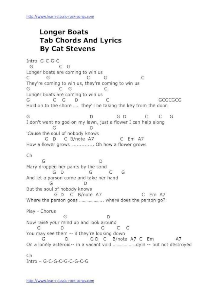 Longer Boats Tab Chords And Lyrics By Cat Longer Boats Tab Chords And Lyrics By Cat Stevens Intro Pdf Document Christian gospel music lyrics + chords. fdocuments