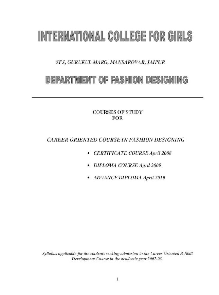 Career Oriented Course In Fashion Designing Oriented Skill Development Opportunity To Study Pdf Document