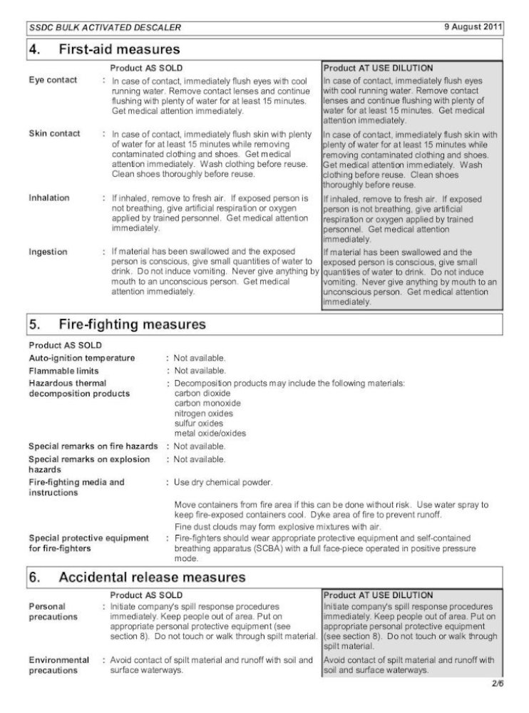 Material Safety Data Sheet Ecolab Material Safety Data Sheet Tool To Scoop Up Solid Or Absorbed Pdf Document