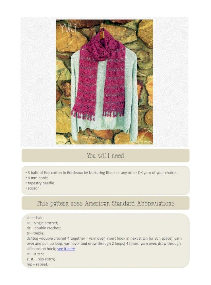 Crochet Pattern Scarf Pemberley Collection PDF 271