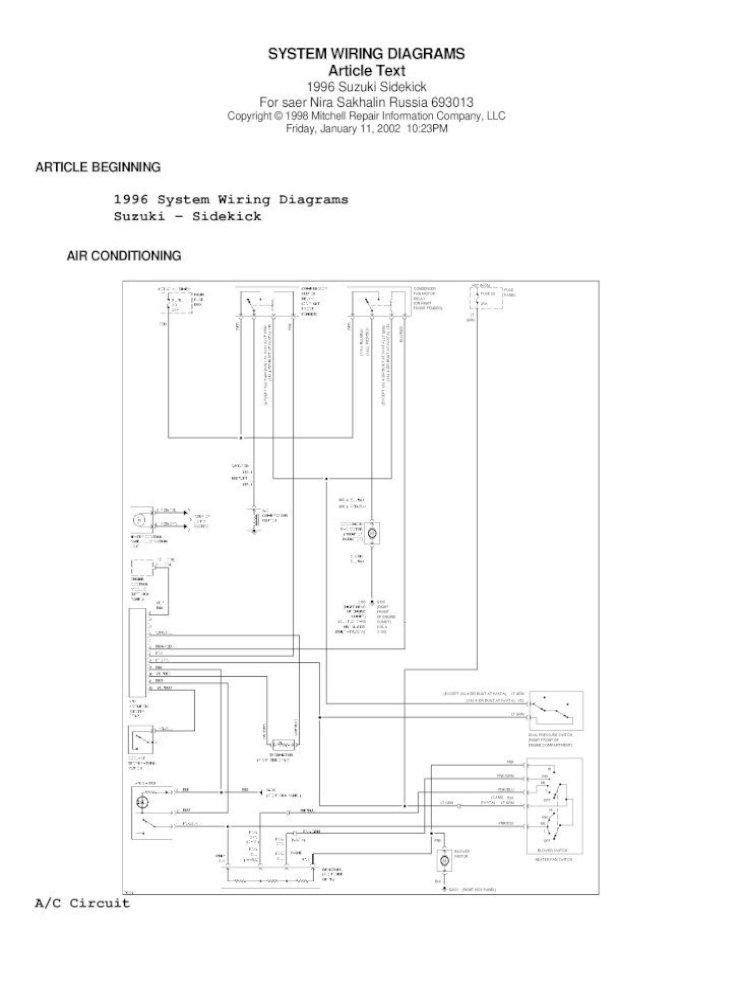 95 suzuki sidekick wiring diagram  pdf document