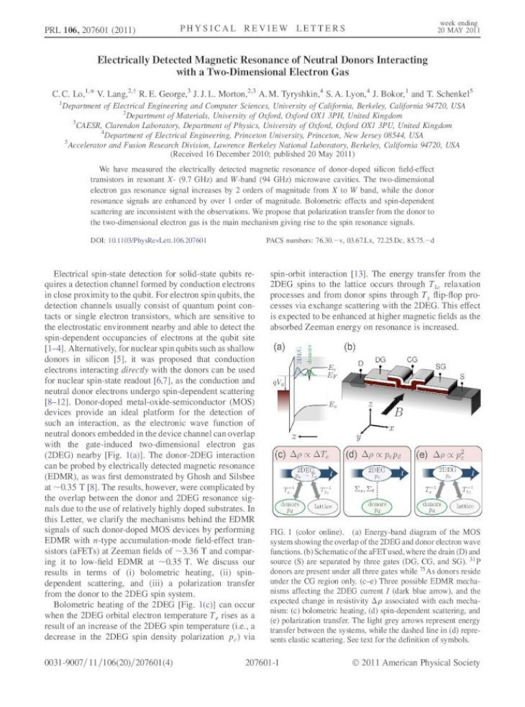 Electrically Detected Magnetic Resonance of Neutral Donors ...