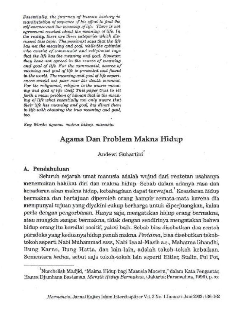 Agama Dan Problem Makna Hidup Pdf Document